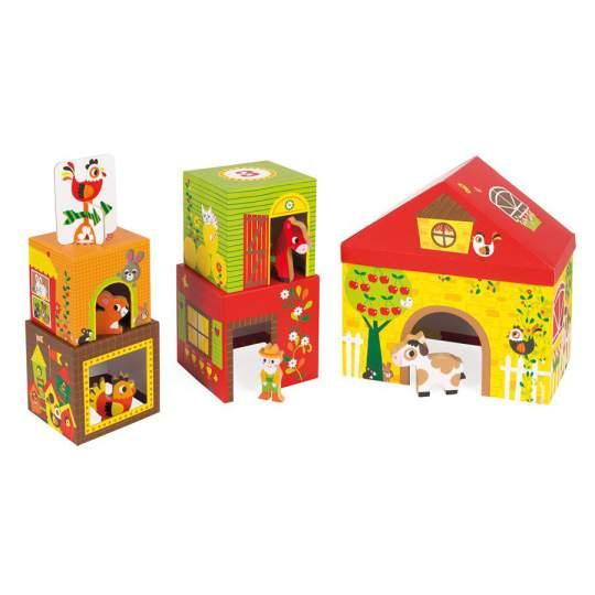 Set cubi impilabili tema fattoria con animali in legno Janod