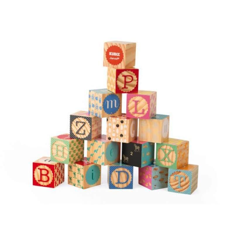 Kubix 16 Cubi Stampati con l'Alfabeto Janod