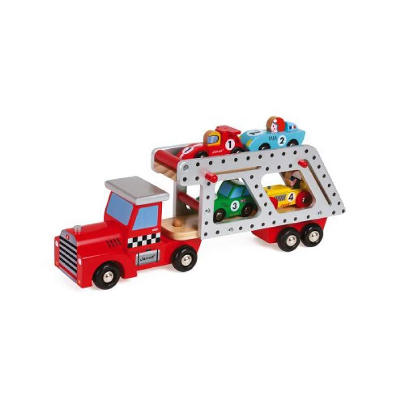 Story Camion Trasportatore con 4 Auto in legno Janod
